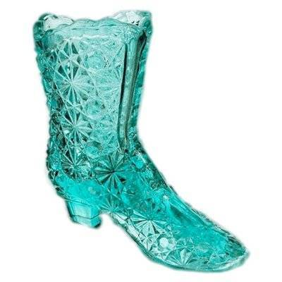Daisy Button Boot Figurine in Blue by Fenton Glass