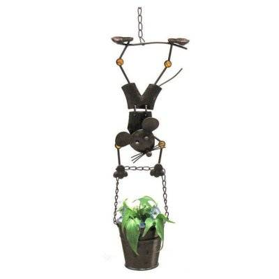 Hanging Planter with Mouse Boy Figurine