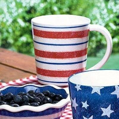 Patriotic Coffee Mug with Red White and Blue Stripes