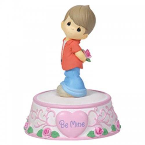 Be Mine Boy Holding Rose Musical Figurine Precious Moments