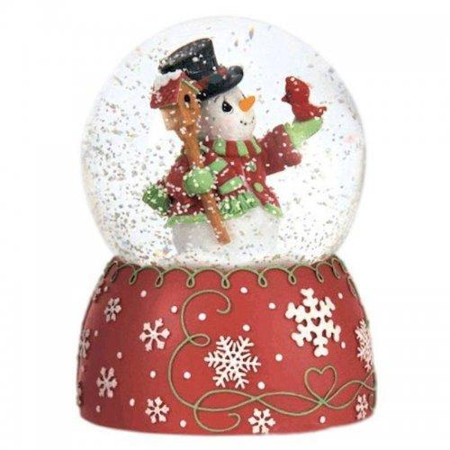 Snowman and Cardinal Musical Water Globe Precious Moments
