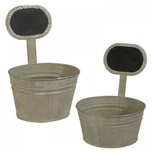 Tin Garden Planter Set with Chalkboards by Grasslands Road
