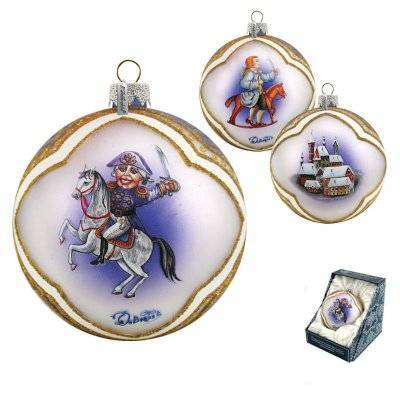 Nutcracker Cavalier Ball-shaped Glass Ornament by G DeBrekht