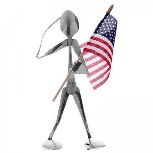 Spoon Head Flag Holder Figurine by Forked Up Art