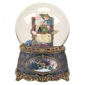Santa with Elf Musical Christmas Glitter Globe by Roman
