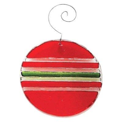 Solid Glass Red with Stripes Ball Ornament Fenton Glass