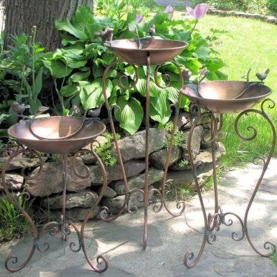 Copper Bird Bath with Stand Size Large