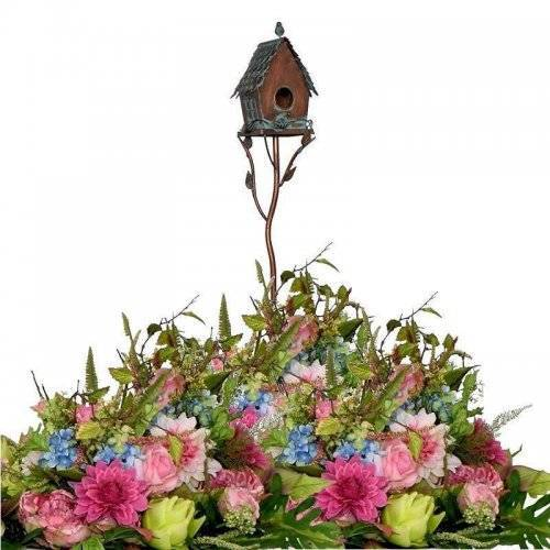 Birdhouse on a Garden Stake with A-frame Roof