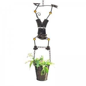 Hanging Planter with Boy Cat Figurine