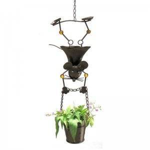 Hanging Planter with Girl Mouse Figurine