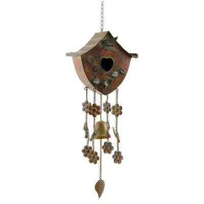 Wind Chime Birdhouse with Sloped Roof
