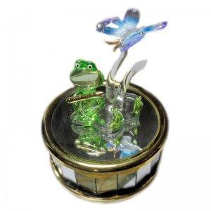 Enchanted Green Frog Musical Figurine