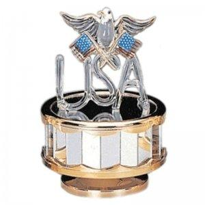 Patriotic USA with Eagle and US Flags Musical Figurine