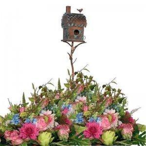 Birdhouse on a Garden Stake with Chimney