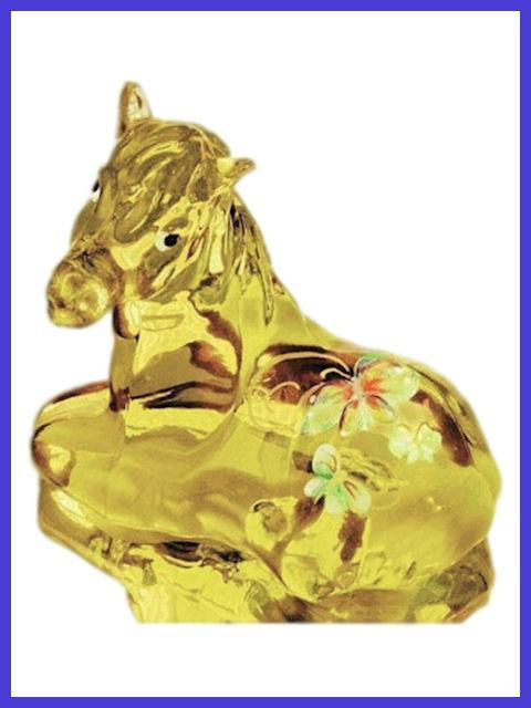 Horse Figurine with Floral Design by Fenton Glass