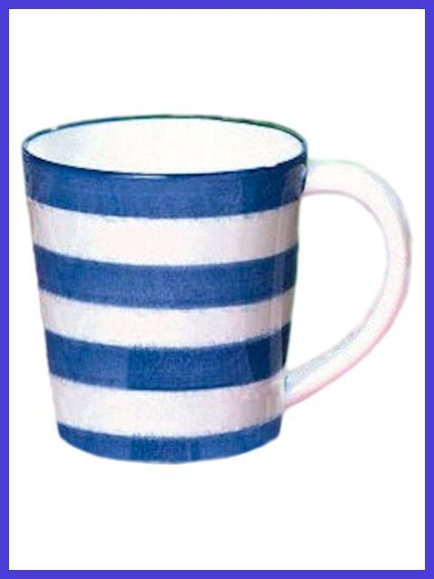 Patriotic Coffee Mug with Blue and White Stripes
