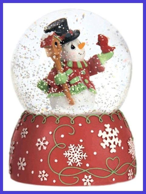 Snowman and Cardinal Musical Water Globe by Precious Moments